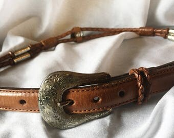Vintage Justin Cowhide Leather Belt Brown with Silver Beads and Buckle