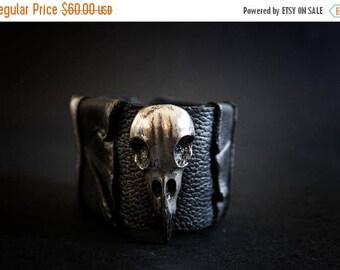 50% OFF SALE Punk Goth Biker leather women wide cuff bracelet Crown Statement
