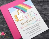 Reserved for Anna · 50 A6 Flat Magical Unicorn Birthday Party Invitations + 50 A2 Flat Thank You Notes