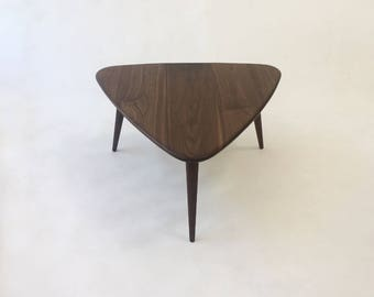 Walnut Guitar Pick Side Table - Mid-Century Modern - Atomic Era Design In Solid Walnut with Solid Walnut Tapered Legs