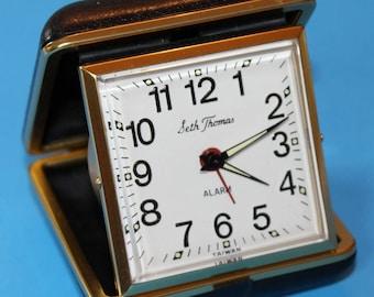 Vintage Seth Thomas Folding Travel Alarm Clock
