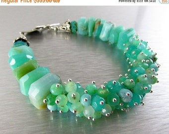 25 OFF Peruvian Opal and Chrysoprase Sterling Silver Cluster Bracelet