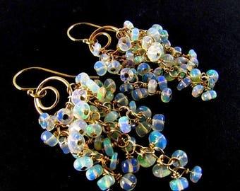 25 OFF Ethiopian Welo Opal Gold Filled Cluster Gemstone Earrings
