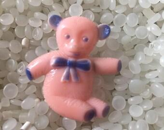 vintage barrette little pink  and blue bear, vintage children barrette,