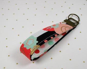 Key Fob Wristlet, Fabric Key Chain, Wrist Key Chain ..Black/White Stripe with Coral/Mint/Gold