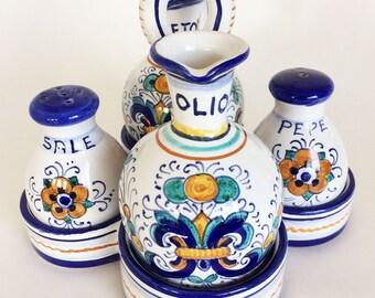 Vintage Deruta Salt Pepper Oil Vinegar w/Holder, Dipinto a mano, Italian Pottery