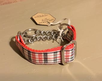 "Free US SHIPPING Red Plaid  Martingale Dog Collar Fits 8"" - 10"" , Italian Greyhound, Chinese Crested, Small Dog. (20008)"