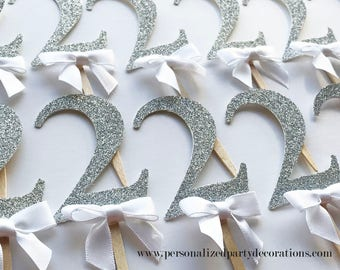 2 Silver Glitter Cupcake Toppers, Boy 1st birthday party, 2nd birthday, 3rd birthday, glitter party decorations – Quick & Free Shipping