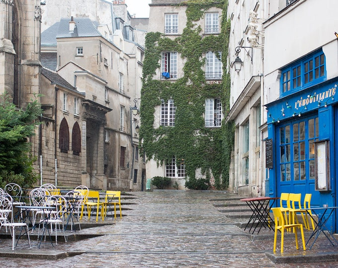 Paris Photography, Rainy Afternoon in the Marais, St Paul, blue and yellow,  French Decor - Paris Wall Art, Green Ivy, Nature in Paris