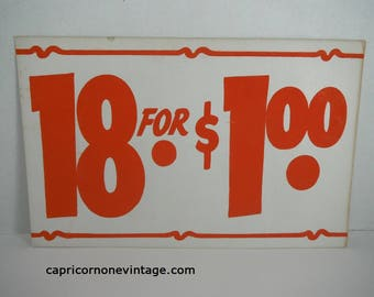 Vintage Price Sign 18 for 1.00 Vintage Retail Sign 1960s Cardboard Sign Double Sided Sign Vintage Grocery Store Sign Drug Store Sign 1950s