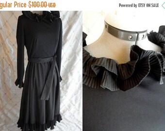 "ON SALE 70s Dress // Vintage 1970's Black Ruffly Dress by Victor Costa Size L 30"" waist party"