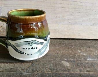 Wander - Mountain Mug - Tea Cup - Coffee Mug - Espresso - Camp Mug, Camping Mug - Latte - Wanderer, Wanderlust