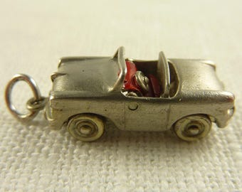 Antique Sterling Moveable Painted Rhinestone Convertable Car Charm with Closing Roof