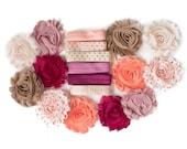 Anna : Pink + Coral DIY Headband Kit   6 or 12 Headbands   Chiffon Flower FOE Fold Over Elastic   Princess Parties & Baby Showers