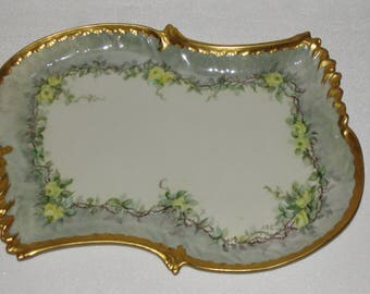 Antique Limoges Coiffe Porcelain Signed Tray 100 years old