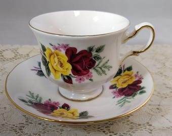 SALE 20% Off Queen Anne Bone China Cup and Saucer,Bold Coffee Bespoke Teacup  #B1058