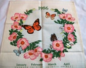 Vintage Calendar Towel, Tea Towel, 1986 Calendar Tea Towel, butterflies and flowers, Fabric Calendar