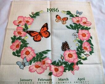 Vintage Calendar Towel, Tea Towel, 1986 Calendar Tea Towel, butterflies and flowers, Fabric Calendar
