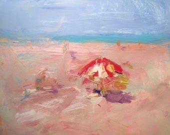 Beach Day, original sea and beach and sky painting, ocean art, original painting, Potak