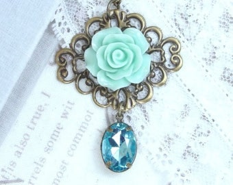 Green Rose Necklace Filigree Necklace Victorian Necklace Green And Blue Necklace Green Rose Jewelry