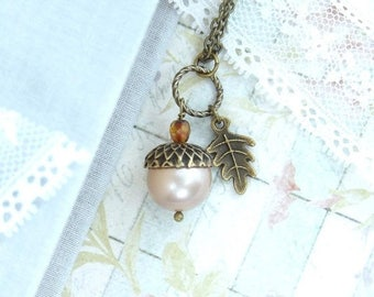 Pearl Acorn Necklace Autumn Jewelry Nature Necklace Acorn Jewelry Forest Necklace Woodland Jewelry