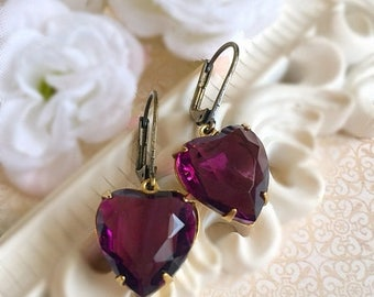 SALE 20% Off Purple Heart Earrings - February Birthstone Gift - Jewelry Gift - Amethyst Earrings - HEARTSONG Amethyst