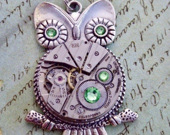 Steampunk Pendant Necklace - Who's Time - Peridot Swarovski Crystals - Steampunk Necklace- Owl pendant - Unique -Birthday Gift for her