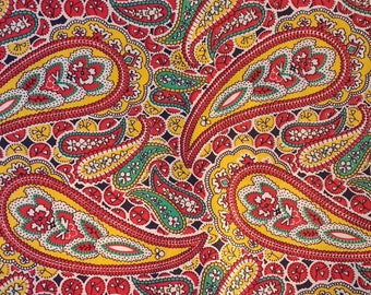 1950s Paisley Print Cotton Fabric Red,Yellow and Green Paisley Print  4.25 yards plus 36 inch wide