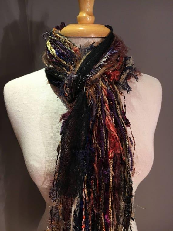 Handmade art scarf, Eggplant Harvest, Blue green rust brown purple, Fringe Scarf, knotted fringe scarf, boho scarves, tribal, fringe, ribbon