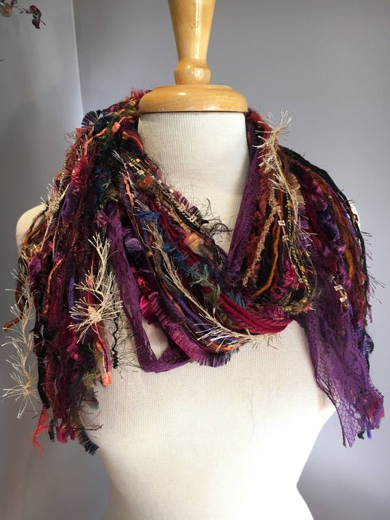 Fringie in Mixed Berry, Art Scarf, Fringe Scarf, hand tied scarf, ribbon scarves, bohemian scarf, purple maroon brown, photo prop