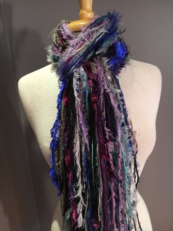 Fringie Scarf, Mixed blues with purple, handmade Scarf, blue lavendar fringe scarf, boho fashion, accessories, funky scarves, artsy scarf