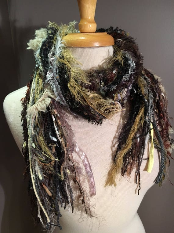 Handmade art yarn scarf, Fringe Scarf, Eclipse, Neutral tone, taupe black yellow, scarf, Handmade Scarves, women gifts, boho scarves
