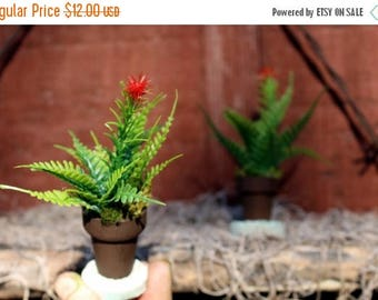Save25% 2 Miniature potted fern plants-Hand made Fairy Garden decor-Dollhouse plants-