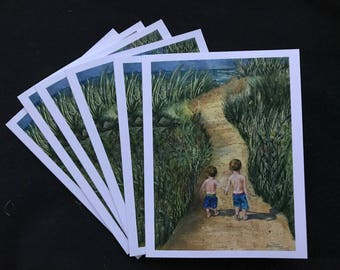This is a Fine Watercolor Art Print That Is A Card, Two boys Hand in Hand Walking Down The Sandy Pathway to the Lake by Janet Dosenberry