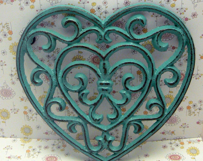 Heart Cast Iron Trivet Hot Plate Aqua Turquoise Shabby Chic Fleur FDL Kitchen Decor