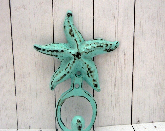 Starfish Cast Iron Shabby Cottage Chic Hook Beach Blue Nautical Bathroom Lake House Leash Hat Key Jewelry Star Fish Hook