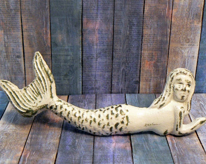 Mermaid Cast Iron Pull Handle Knob Cottage Chic Beach White Nautical Coastal Decor
