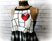 Black White Top HIgh Neck Tank Bohemian Shirt Heart Clothes Patchwork Style Babydoll Top Plaid Fabric Summer Fashion Artsy Shirt M L 'JULIET