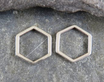 Minimalist Sterling Silver Hexagon Links - One Pair - Minimalist Jewelry - Geometric Links - Hexagon Charm - lmh