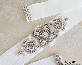 SALE 20% Swarovsky Crystal Bridal sash, Wedding sash, Bridal belt, Crystal Sash, Rhinestone Sash, Wedding Dress Sash, Wedding Gown Belt