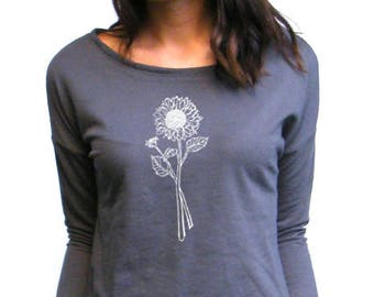 Sunflower Tshirt - Womens Long sleeve Shirt - Sunflower Long Sleeve Tee - Next Level French Terry Long Sleeve Scoop - S, M, L , XL, 2XL