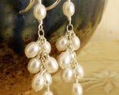 Cluster Pearl Earrings, Freshwater Pearl Earrings, Dangle, Sterling Silver, Long Pearl Earrings, Wedding Jewellery, Handmade Bridal Jewelry