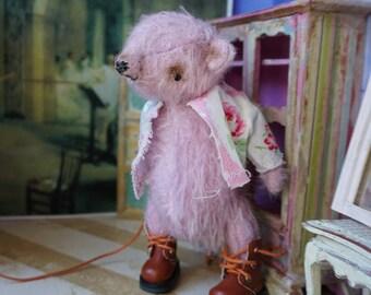 "OOAK Artist Bear - BENITO - 5"" Tall Hand-Dyed LILAC Mohair Collectible Teddy Bear"