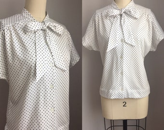 Vintage 1970s Navy Blue and White Polka Dot Pussy Bow Tie Scarf Blouse Size Medium