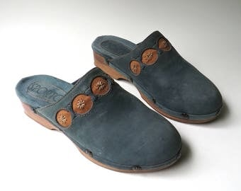 80s/90s vintage Sporto Slate Blue Suede Wooden Clogs / made in Brazil / Boho Hippie Indie Hipster Gypsy Festivals