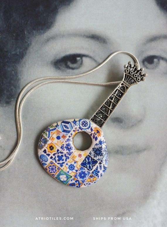 Portugal HUGE Filigree FADO GUITaR Guitarra Necklace with 925 Silver Chain with Antique Azulejo Tile Replica Tiles!  OOAK Music