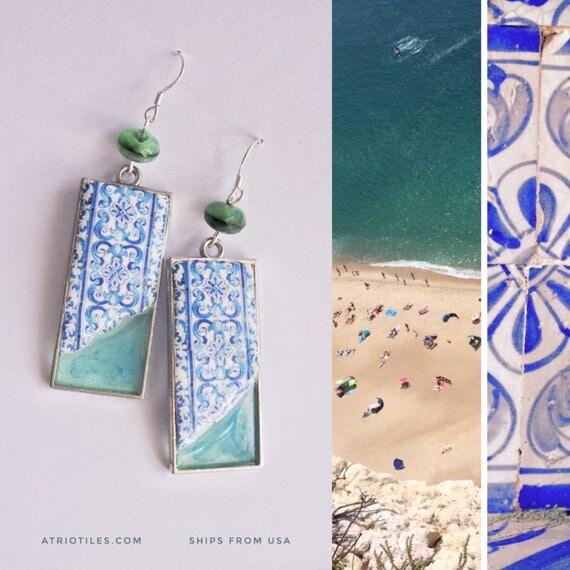 Earrings Portugal Tile Portuguese Blue Azulejos Dipped in Ocean FRAMED AvEIRO Santa Joana Convent 1458 - Reversible Gift Boxed  543