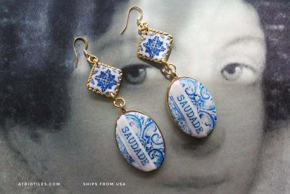 Earrings SAUDADE Portugal 16th Century Azulejo Tiles - Tomar - Convent of Christ built in 1160 Camellias Majolica  - Reversible