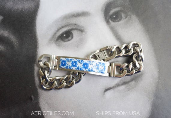 Bracelet Portugal Tile MEN Man STAINLESS STEEL Azulejo Tile Replica, Blue Igreja de Sao Nicolau, 1671  (see photos of church) Gift Boxed