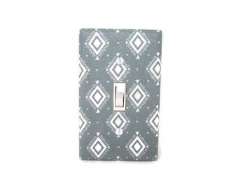 Aztec Light Switch Cover - Grey Tribal Light Switch Cover - Grey Diamond Nursery Decor - Tribal Bedroom - Aztec Outlet Cover - Switch Plate